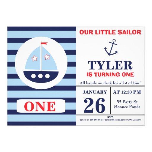 Personalized Nautical 1st birthday Invitations