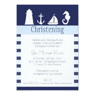 Boys Nautical Christening Baptism Invitation