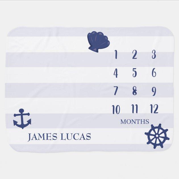 Boy S Nautical Monthly Milestone Chart Baby Blanket Zazzle Com