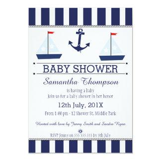 Boys Nautical Sail Boats Baby Shower Invitation