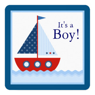Boys Nautical Sailboat Baby Shower Card