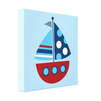 Boys Nautical Sailboat Canvas Nursery Wall Art Canvas Print