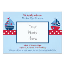 Boys Nautical Sailboat Photo Birth Announcement
