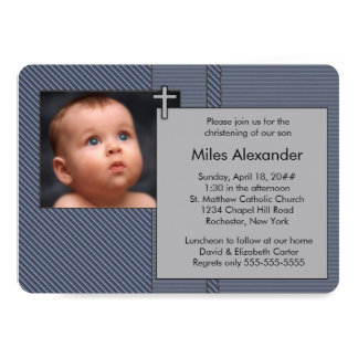 Boys Navy Blue and Gray Photo Christening Card