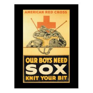 Boys Need Sox World War II Postcard