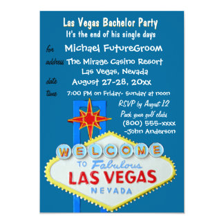 Boys Night Out Vegas Bachelor Party 5x7 Paper Invitation Card