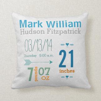 Boy's Nursery Room Baby Stat Arrow Pattern Pillow