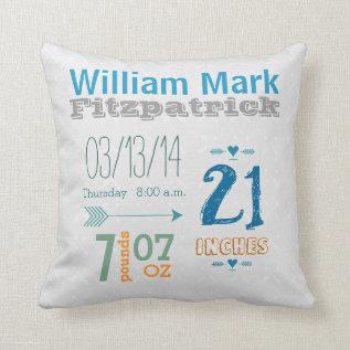 Boy's Nursery Room Baby Stat Arrow Pattern Throw Pillow at Zazzle