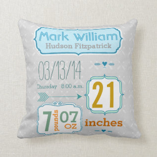 Boy's Nursery Room Baby Stat Arrow Pattern Throw Pillow at Zazzle