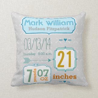 Boy's Nursery Room Baby Stat Arrow Pattern Throw Pillow