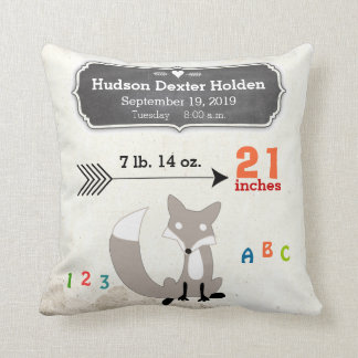 Boy's Nursery Room Baby Stat Fox Arrow Pattern Pillow