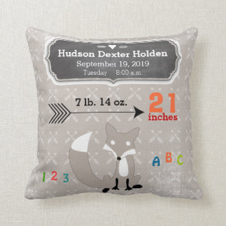 Boy's Nursery Room Baby Stat Fox Arrow Pattern Throw Pillow at Zazzle