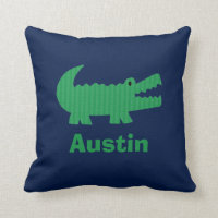 Boys Nursery Room Decor Alligator Throw Pillow