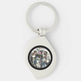 Boys on Christmas March Silver-Colored Swirl Metal Keychain