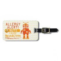 Boys Orange Robot Nut Allergy Alert Personalized Luggage Tag