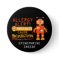 Boys Orange Robot Tree Nut Allergy Alert Button