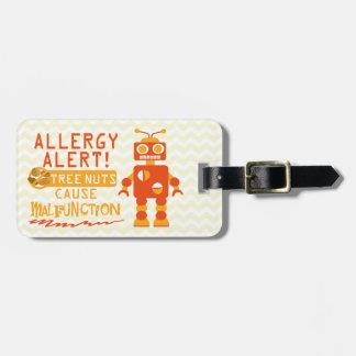 Boys Orange Robot Tree Nut Food Allergy Alert Bag Tag