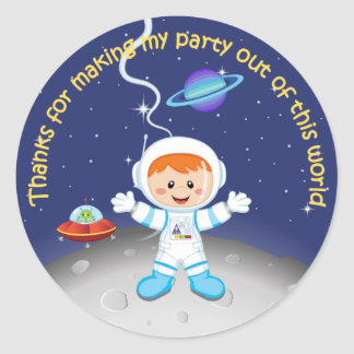 Boys Outer Space Birthday Thank You Classic Round Sticker