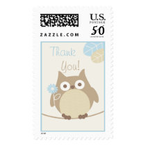 Boys Owl Baby Shower Thank You Postage