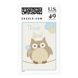 Boys Owl Baby Shower Thank You Stamp