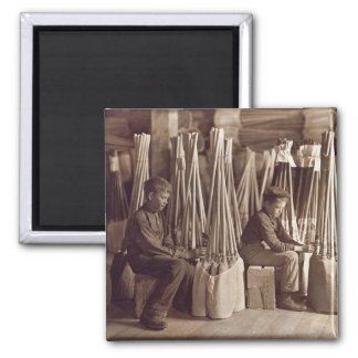 Boys Packing Brooms, 1908 2 Inch Square Magnet