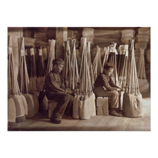 Boys Packing Brooms, 1908 Poster