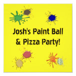 Boys Paint Ball Pizza Birthday Party Personalized Invite