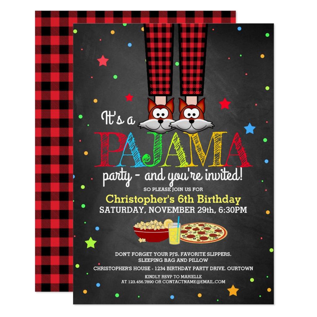 Boy's Pajama Party Birthday Invitations