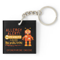 Boys Peanut Allergy Alert Orange Robot Keychain