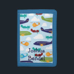 """Boys Personalized Airplanes &amp; Helicopters Wallet<br><div class=""""desc"""">This design features a pattern with various aircraft including helicopters and airplanes.  You can personalize it with a child&#39;s name.  Perfect for kids who love airplanes! To change font size,  style or color,  click on the Customize It button.  Please message me with any questions.</div>"""