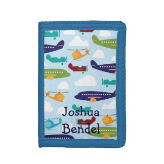 Boys Personalized Airplanes Helicopters Wallet