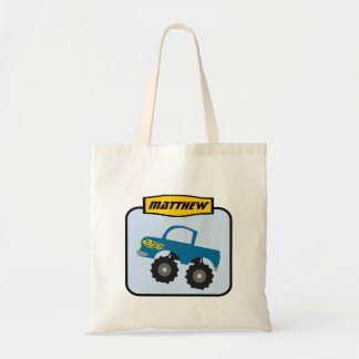 Boys Personalized Blue Monster Truck Tote Bag