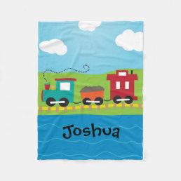 Boy's Personalized Choo Choo Train Fleece Blanket