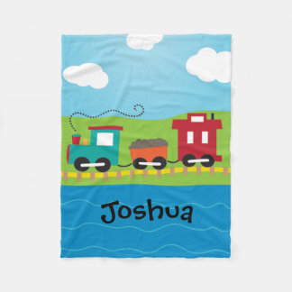 Boy's Personalized Choo Choo Train Fleece Blanket