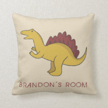 Boys Personalized Dinosaur Room Beige Bed Pillow