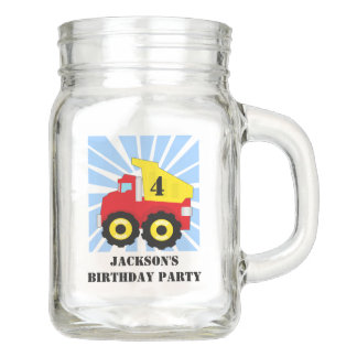 Boys Personalized Dump Truck Birthday Party Mason Jar