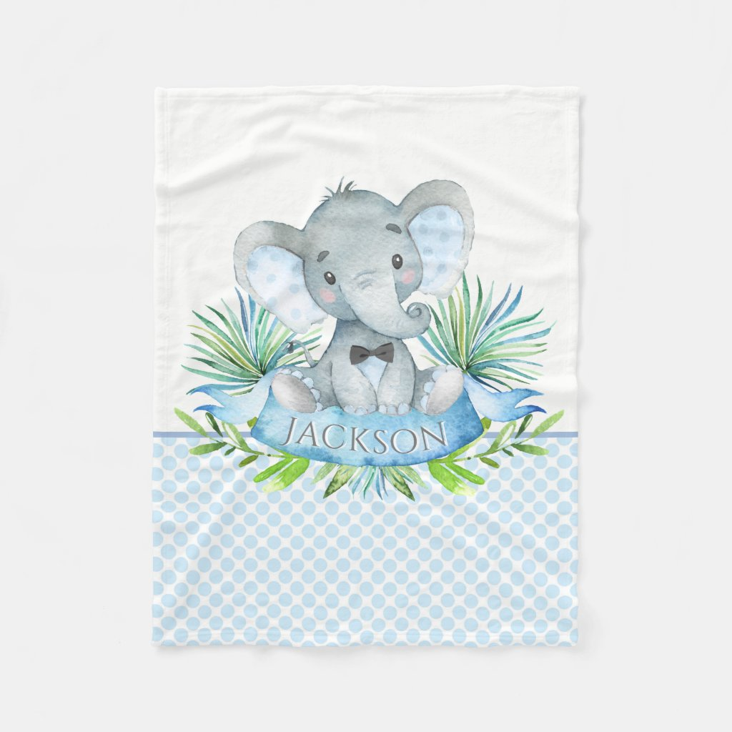 Boys Personalized Elephant Baby Blanket