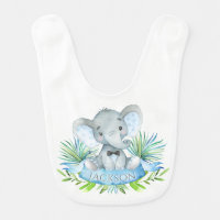 Boys Personalized Elephant Bib