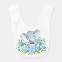 Boys Personalized Elephant Bib