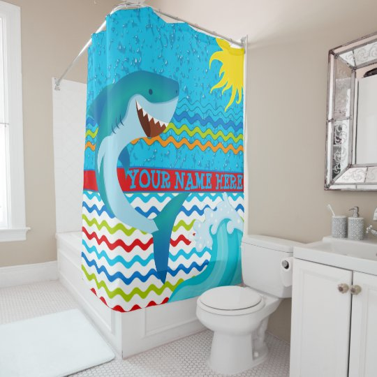 boys personalized name shark bath shower curtain. Black Bedroom Furniture Sets. Home Design Ideas