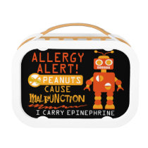 Boys Personalized Peanut Allergy Orange Robot Lunch Box