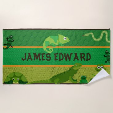 Boys Personalized Reptile Beach Towel