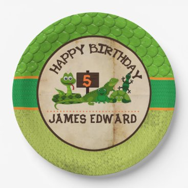 TiffsSweetDesigns Boys Personalized Reptile Birthday Party Paper Plate