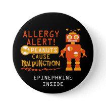 Boys Personalized Robot Peanut Allergy Alert Pinback Button