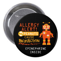 Boys Personalized Robot Peanut Allergy Alert Pinback Button