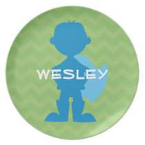 Boys Personalized Superhero Green Chevron Melamine Plate