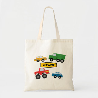 Boys Personalized Transport Vehicles Tote Bag