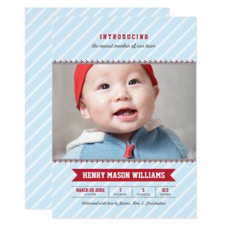 Boy's Photo Birth Announcement Card | Baseball