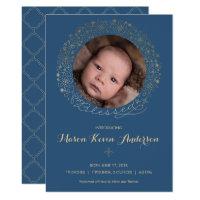 Boy's Photo Birth Announcement - Religious w/ Gold
