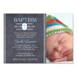 boys chalkboard baptism photo invitation,